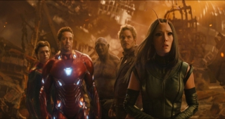 Marvel Studios\' AVENGERS: INFINITY WARL to R: Spider-Man/Peter Parker (Tom Holland), Iron Man/Tony Stark (Robert Downey Jr.), Drax (Dave Bautista), Star-Lord/Peter Quill (Chris Pratt) and Mantis (Pom Klementieff)Photo: Film Frame©Marvel Studios 2018