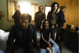"THE LOST ROOM -- Pictured: (l-r) Kevin Pollak as Karl Kreutzfeld, Peter Krause as Joe Miller, Peter Jacobson as Wally Jabrowski, Elle Fanning as Anna Miller, Julianna Margulies as Jennifer Bloom, Dennis Christopher as Dr. Martin ""Ruby"" Ruber -- SCI FI Channel Photo: Randall Slavin"