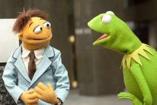 """THE MUPPETS"" WE CAN DO IT, WALTER! KERMIT THE FROG gives newest Muppet, WALTER a pep-talk while they work to save the Muppet Theater from being destroyed in THE MUPPETS. (Opening in theaters Nov. 23rd). Photograph by: Scott Garfield © 2011 Disney"