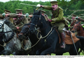 """""""WAR HORSE"""" 172_DM-D5-0147 Major Stewart (Benedict Cumberbatch) leads the British cavalry in a charge against a German encampment in this scene from DreamWorks Pictures' """"War Horse"""", director Steven Spielberg's epic adventure set against a sweeping canvas of rural England and Europe during the First World War. Ph: David Appleby ©DreamWorks II Distribution Co., LLC. All Rights Reserved."""