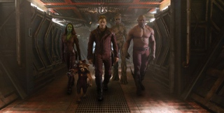 Marvel\'s Guardians Of The GalaxyL to R: Gamora (Zoe Saldana), Rocket Racoon (voiced by Bradley Cooper), Peter Quill/Star-Lord (Chris Pratt), Groot (voiced by Vin Diesel) and Drax the Destroyer (Dave Bautista)Ph: Film Frame©Marvel 2014