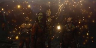 Marvel\'s Guardians Of The GalaxyL to R: Drax the Destroyer (Dave Bautista), Gamora (Zoe Saldana), Groot (voiced by Vin Diesel) and Peter Quill/Star-Lord (Chris Pratt)Ph: Film Frame©Marvel 2014