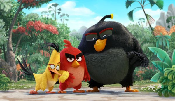 Chuck (Josh Gad), Red (Jason Sudeikis), Bomb (Danny McBride) in Columbia Pictures und Rovios ANGRY BIRDS.
